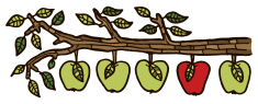stock-illustration-15837950-apples-on-a-branch-all-green-one-red